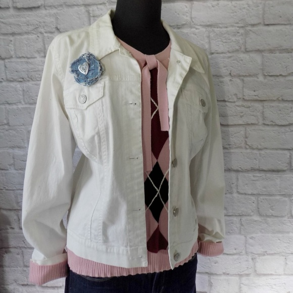 Nine West Jackets & Blazers - 9 West American Vintage White Denim Jean Jacket